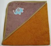 Уголок дет. махровый с вышивкой Слоненок (горчичный)