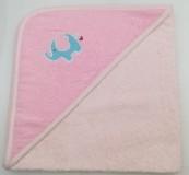 Уголок дет. махровый с вышивкой Слоненок (светло-розовый)