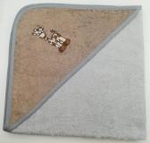 Уголок дет. махровый с вышивкой Жираф (серый)